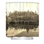 Big Sky And Dock On The River In Sepia Shower Curtain