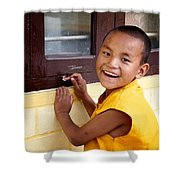 Big Smile At The Window Shower Curtain