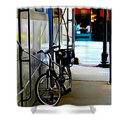 Bike - Scaffold - Lunchers - Water Color Conversion Shower Curtain