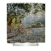 Bikes And Bricks Shower Curtain