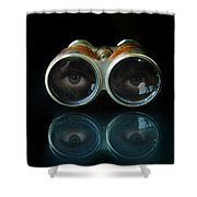 Binoculars With Eyes Looking At You Shower Curtain