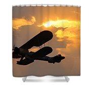 Biplane At Sunset Shower Curtain