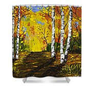 Birch Trees And Road Fall Painting Shower Curtain