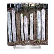Bird House Fence With Black Cat Shower Curtain