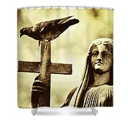 Bird On The Cross Shower Curtain