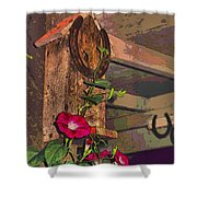 Birdhouse Morning Glories Two Shower Curtain
