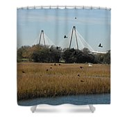 Birds And Bridge Shower Curtain