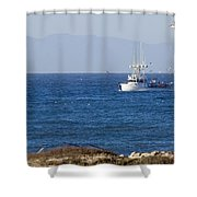 Birds Flying Over A Commercial Fishing Shower Curtain