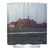 Birds In Free Flight At Alcatraz Shower Curtain