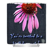 Birthday Party Invitation - Coneflower Shower Curtain