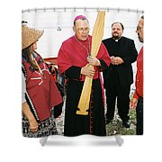 Bishop Arrives Two Shower Curtain
