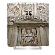 Bishop Sculpture In Cordoba Cathedral Shower Curtain