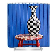 Blach And White Vase On Stool Against Blue Wall Shower Curtain