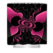 Black And Pink Fractal Butterfly Shower Curtain