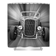 Black And White 32 Ford Shower Curtain by Steve McKinzie