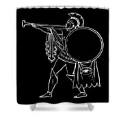 Black And White Ancient Greek Warrior Shower Curtain