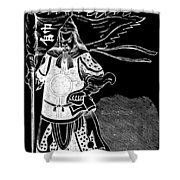 Black And White Chinese Warrior Shower Curtain