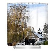 Black And White Church  Melverley Shower Curtain