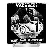 Black And White French Car Shower Curtain
