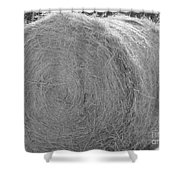 Black And White Hay Ball Shower Curtain