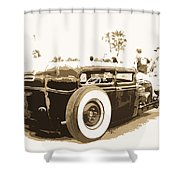 Black And White Hot Rod Shower Curtain