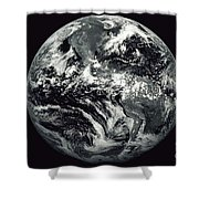Black And White Image Of Earth Shower Curtain