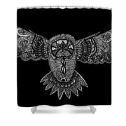 Black And White Owl Shower Curtain