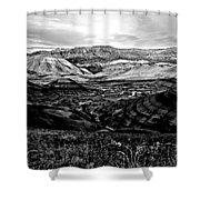 Black And White Painted Hills Shower Curtain