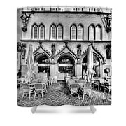 Black And White Patio Shower Curtain