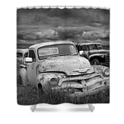 Black And White Photograph Of A Junk Yard With Vintage Auto Bodies Shower Curtain