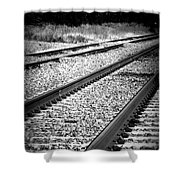 Black And White Railroad Tracks Shower Curtain