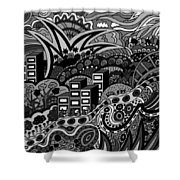 Black And White Seaside Shower Curtain