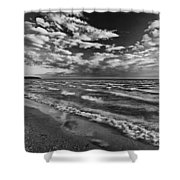 Black And White Shoreline Of Lake Shower Curtain