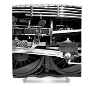 Black And White Steam Engine - Greeting Card Shower Curtain