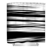 Black And White Striped Wave Pattern Shower Curtain
