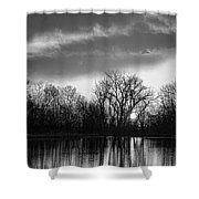 Black And White Sunrise Over Water Shower Curtain by James BO  Insogna