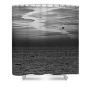 Black And White Sunset Shower Curtain by Aimee L Maher Photography and Art Visit ALMGallerydotcom