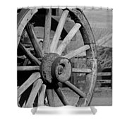 Black And White Wagon Wheel Shower Curtain