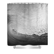 Black And White Wave Breaking On Makena Shore Shower Curtain