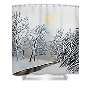 Black And White Woods Shower Curtain