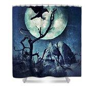 Black Bird Landing On A Branch In The Moonlight Shower Curtain