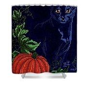 Black Cat Cross Stitch Shower Curtain