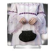 Black Handbag Shower Curtain by Joana Kruse