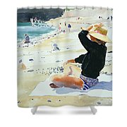 Black Jumper Shower Curtain by Lucy Willis