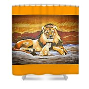 Black Maned Lion And Cub Shower Curtain