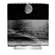Black Night At The Shore Shower Curtain