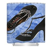 Black Satin And Crystal Dragonfly Pumps Shower Curtain