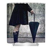 Black Umbrellla Shower Curtain by Joana Kruse