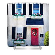 Black Window Shutters With Flowers Shower Curtain