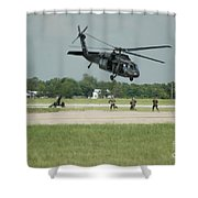 Blackhawk Pulling Pitch Shower Curtain